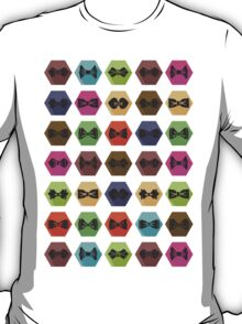 Bow tie pattern. Flat icons with hipsters style T-Shirt