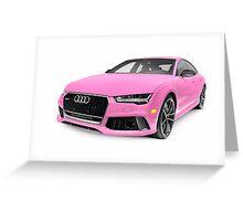 Pink 2016 Audi RS 7 Prestige Quattro Sedan luxury car art photo print Greeting Card