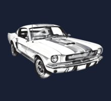 1965 GT350 Mustang Muscle Car Illustration One Piece - Short Sleeve