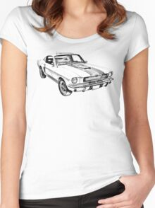 1965 GT350 Mustang Muscle Car Illustration Women's Fitted Scoop T-Shirt