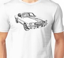 1965 GT350 Mustang Muscle Car Illustration Unisex T-Shirt