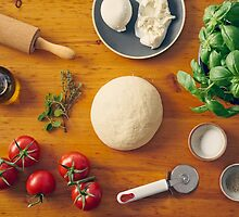 Ingredients for making pizza by Elisabeth Coelfen