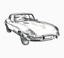1964 Jaguar XKE Antique Sports Car Illustration Kids Clothes