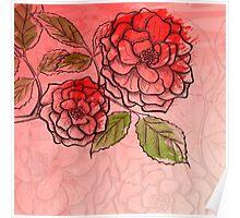 Sketch rose background Poster