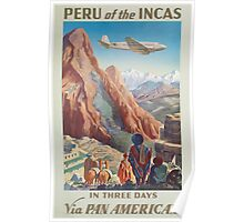 Vintage Airline Peru of the Incas Travel Poster