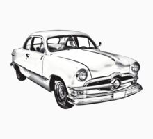 1950  Ford Custom Antique Car Illustration One Piece - Long Sleeve