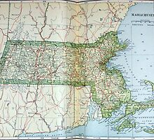 Vintage Map of Massachusetts (1905) by BravuraMedia