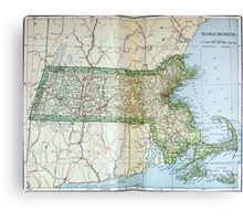 Vintage Map of Massachusetts (1905) Canvas Print