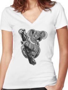 Ornate Koala Women's Fitted V-Neck T-Shirt