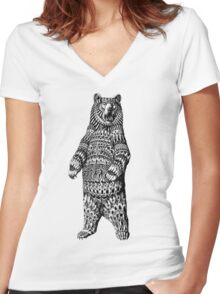 Ornate Grizzly Bear Women's Fitted V-Neck T-Shirt