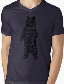 Ornate Grizzly Bear Mens V-Neck T-Shirt