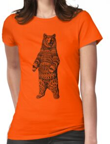 Ornate Grizzly Bear Womens Fitted T-Shirt
