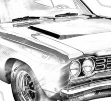 1968 Plymouth Roadrunner Muscle Car Illustration Sticker