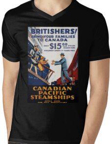 Vintage Canadian Pacific Steamships Canada Travel Mens V-Neck T-Shirt