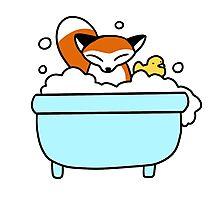 Bubble Bath Fox Photographic Print