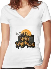 Happy Halloween cemetery banner.  Women's Fitted V-Neck T-Shirt