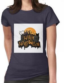 Happy Halloween cemetery banner.  Womens Fitted T-Shirt