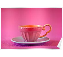 Pink and baby blue vintage teacup Poster