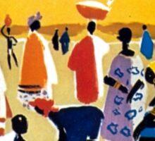 Vintage Colorful Africa Village Travel Sticker