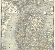 Vintage Map of Michigan (1901)  by BravuraMedia