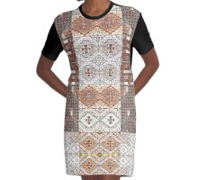 Navajo Floral Collage Print Graphic T-Shirt Dress