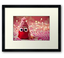 Winter owl in woolly hat  Framed Print