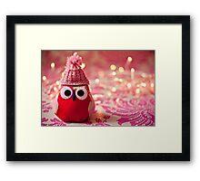 Winter owl in woolly hat  Framed Print