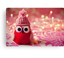 Winter owl in woolly hat  Canvas Print