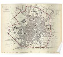 Vintage Map of Milan Italy (1832) Poster