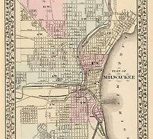Vintage Map of Milwaukee (1880) by BravuraMedia
