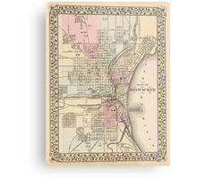 Vintage Map of Milwaukee (1880) Metal Print