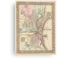 Vintage Map of Milwaukee (1880) Canvas Print