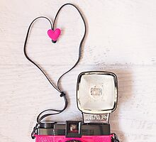Love is... Valentine card (Pink Diana camera version) by Zoe Power