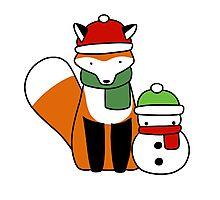 Fox and Snowman Photographic Print