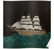Tall Ship At Sea Poster