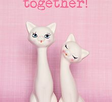 Purrrfect together! Valentine card (white cats version) by Zoe Power