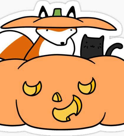 Halloween Fox and Black Cat Sticker