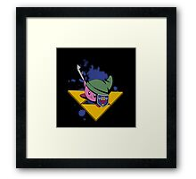 Pink cutie with shield and sword Framed Print