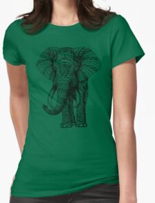 Ornate Elephant Womens Fitted T-Shirt