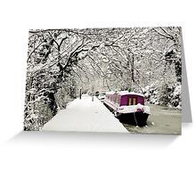 Snowy boat on frozen canal, Oxford Greeting Card