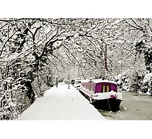 Snowy boat on frozen canal, Oxford Photographic Print
