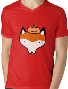 Pumpkin Fox Face Mens V-Neck T-Shirt