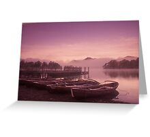 Misty boats at dawn Greeting Card