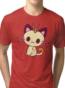Kawaii Chibi Meowth Cat Tri-blend T-Shirt