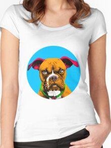 Blue Bubble Boxer Dog Pop Art Women's Fitted Scoop T-Shirt