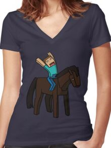 Horse Rider Women's Fitted V-Neck T-Shirt