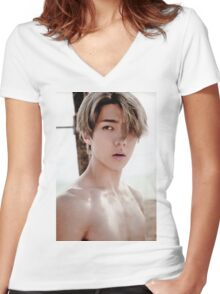 Sehun Exo Dear Happiness Women's Fitted V-Neck T-Shirt