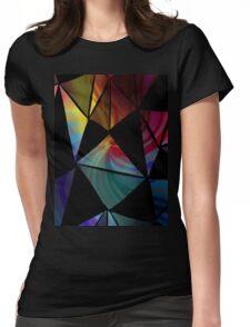 Dark Geometric Triangle Pattern Womens Fitted T-Shirt