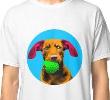 Blue Bubble Sausage Dog Pop Art Classic T-Shirt