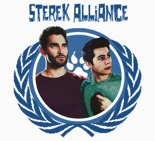 The Ultimate Sterek Alliance Blue T-Shirt [Small Logo] by thescudders
